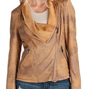 Elan Vegan Leather Cowl Neck Moto Jacket Size L